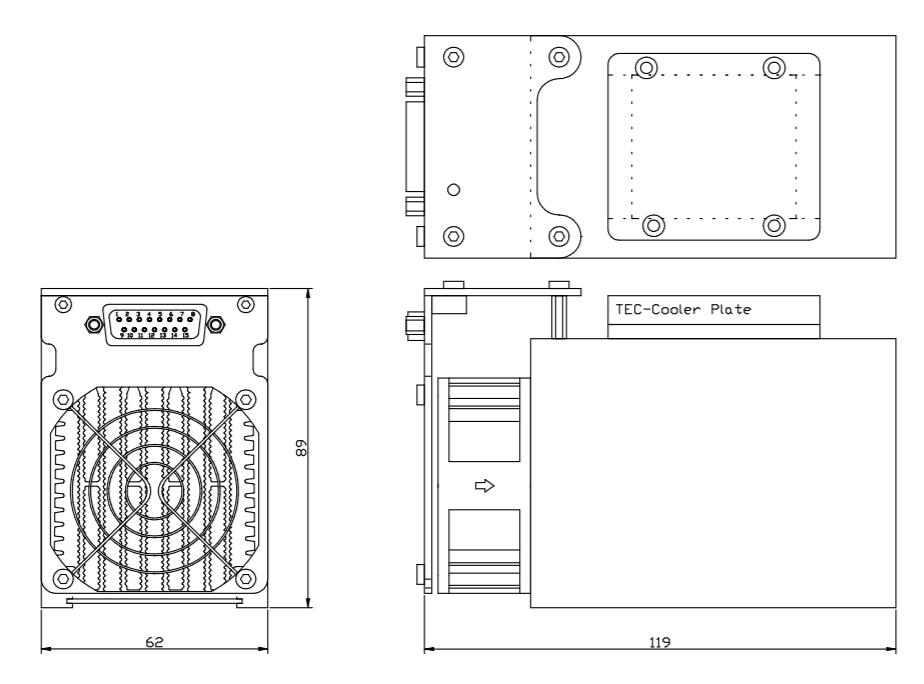 50 watt laser diode heat sink with peltier coolers  ostech